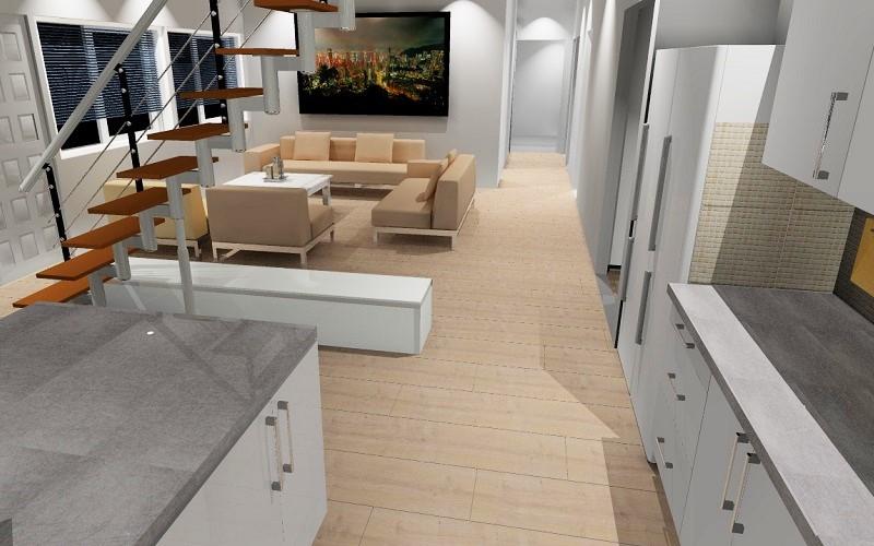 Olohuoneen ja avokeittiön 3D-suunnitelma