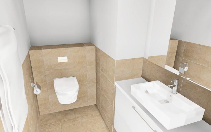 Kylpyhuoneen laatoitus 3D-suunnitelmana