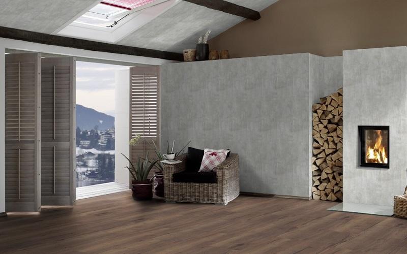 Vaalea betoni MDF seinä- ja kattopaneeli 10x262x2600 mm sarjasta Design Collection
