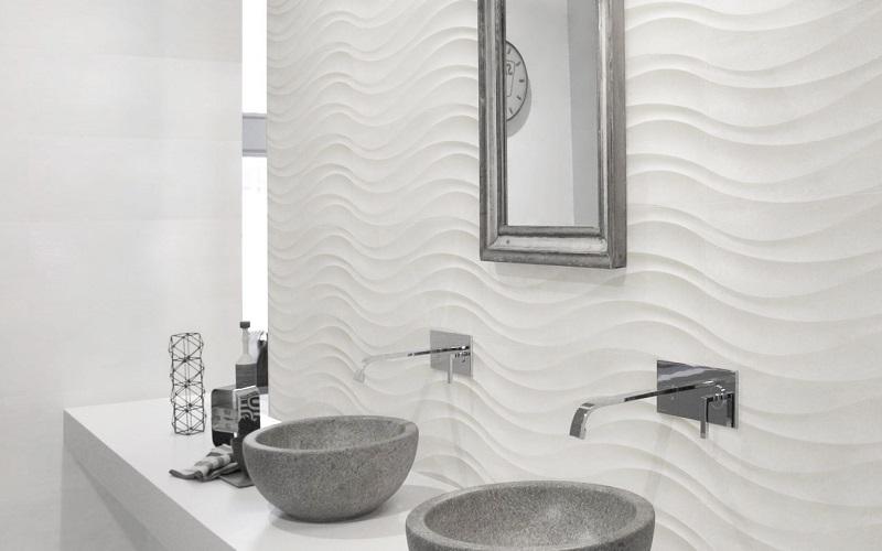 Lapponia Blanco -sarjan seinälaatat nimeltä Ocean White koossa 30x60 cm