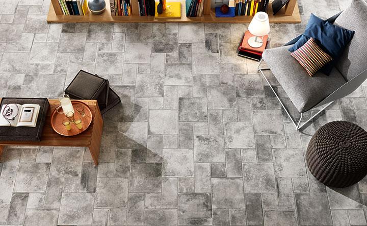 Materia -sarjan lattialaatat sävyssä Grigio