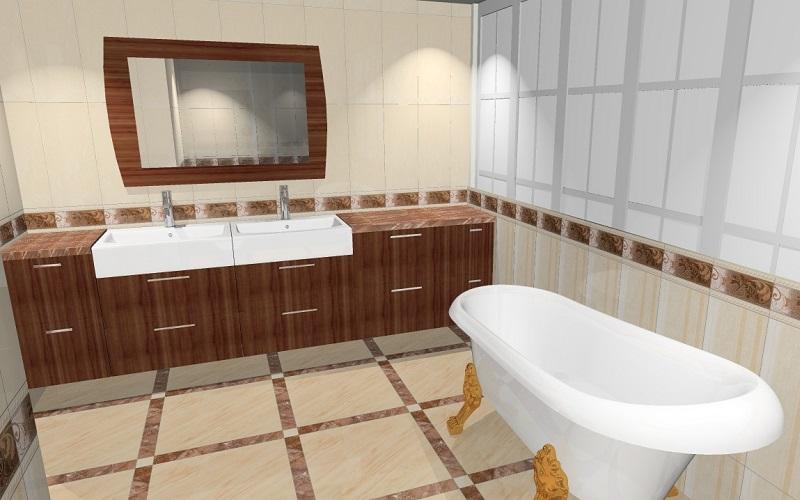 Kylpyhuoneen laatat 3D-suunnitelmassa